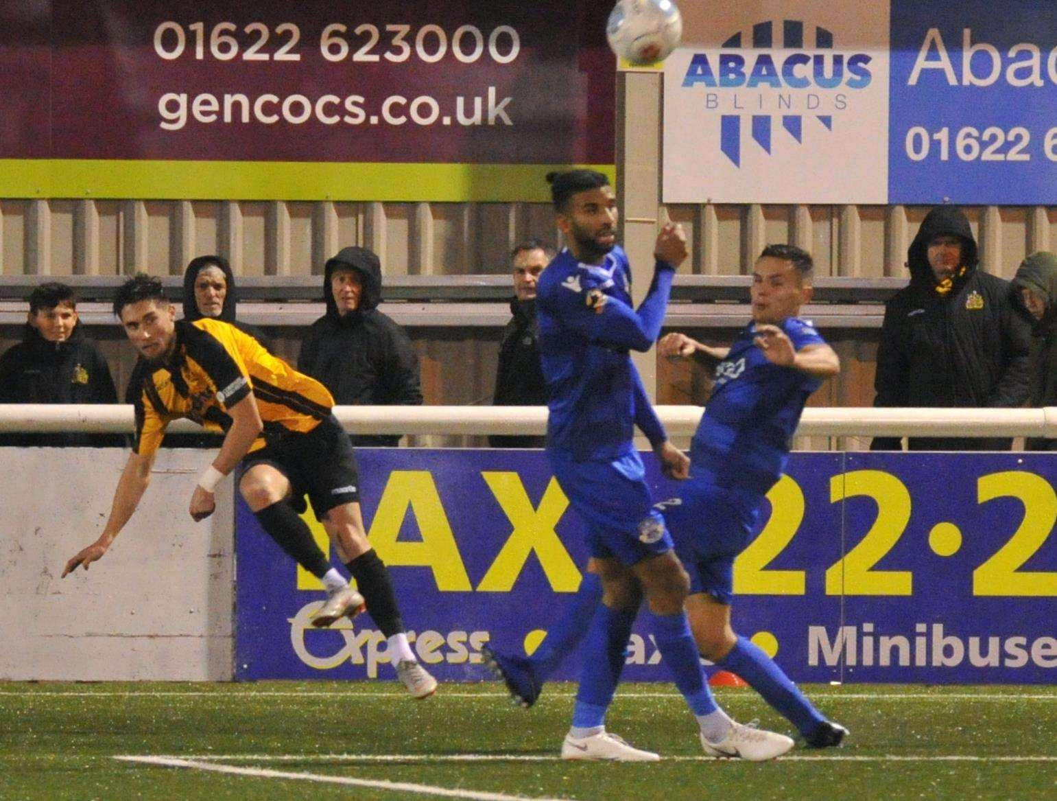 Sean Shields whips in a cross on his Maidstone debut against Eastleigh Picture: Steve Terrell