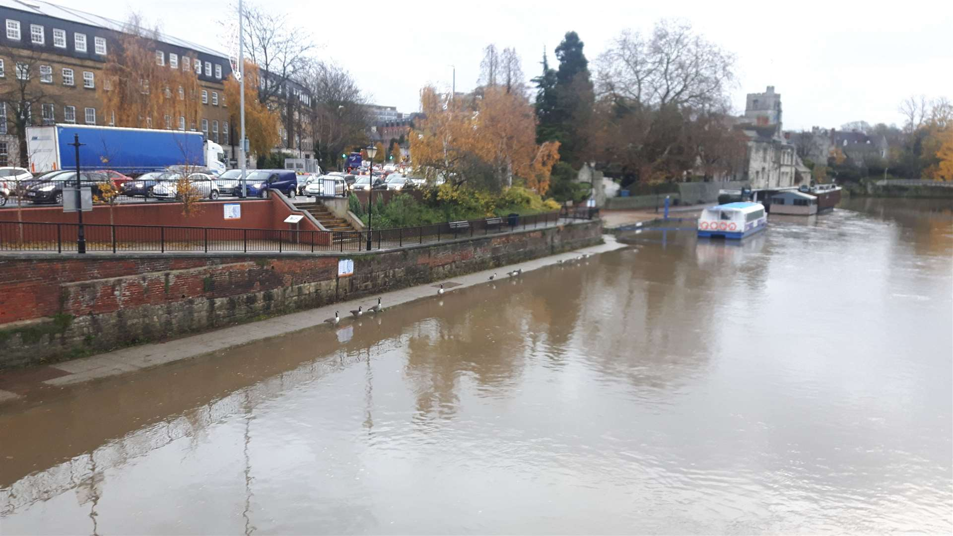 The River Medway in Maidstone reaches high levels this morning(22690095)