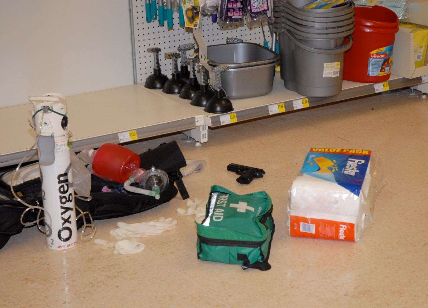 A picture of the scene at Morrison's after Tomas Uptas was shot in the kitchen aisle