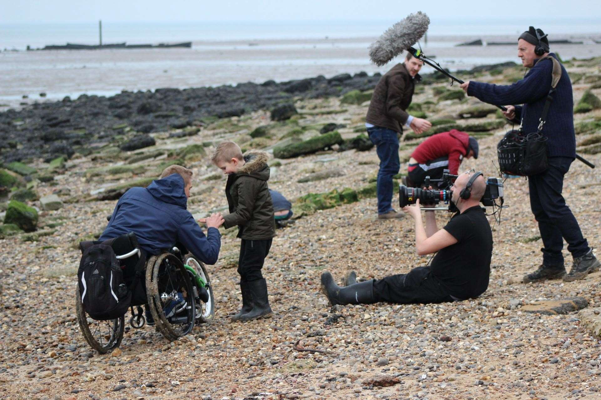 A film crew keeps Steve Brown in its sights as he hunts for fossils on the beach at Minster, Sheppey for the BBC One programme Blue Planet UK (7820245)
