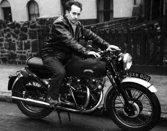 Johnnie Sawyer on his Vincent Black Shadow which sold for £48,000 after his death