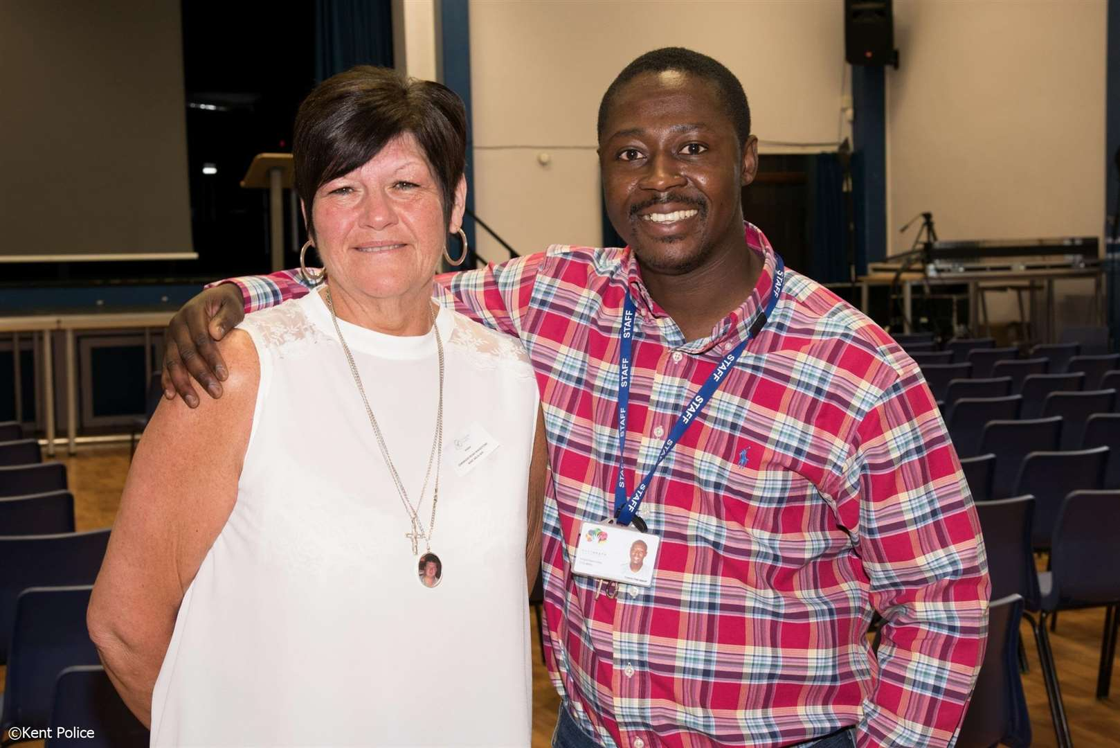 Glenda Crittenden, whose son Tom was stabbed to death, with Francis Osei-Appiah