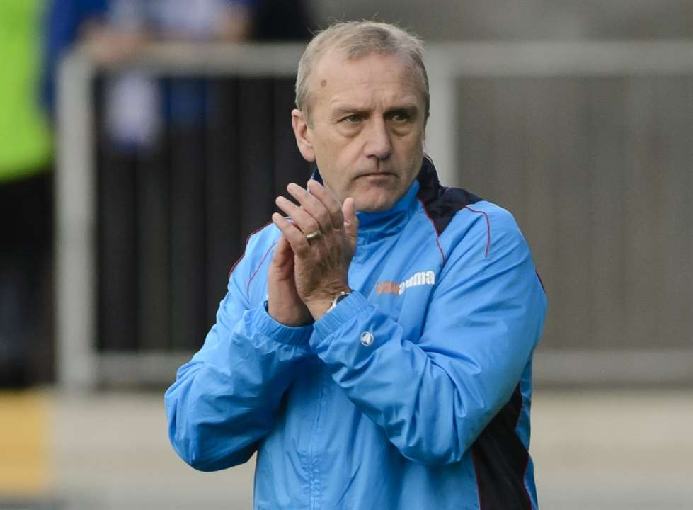 Tony Burman applauds his players after the 3-0 win against Chippenham Picture: Andy Payton