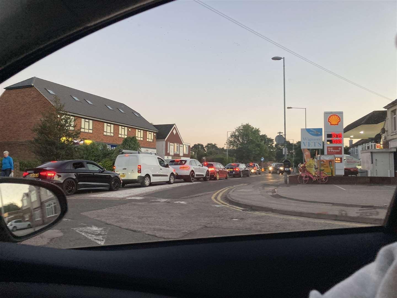 Traffic queuing to access a petrol station in Wigmore, near Rainham (51577871)