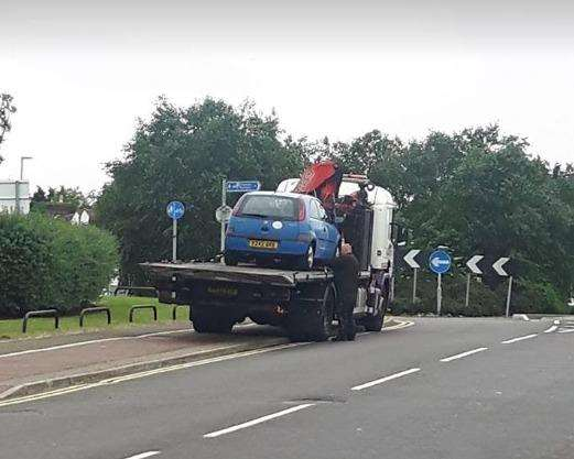The car being removed