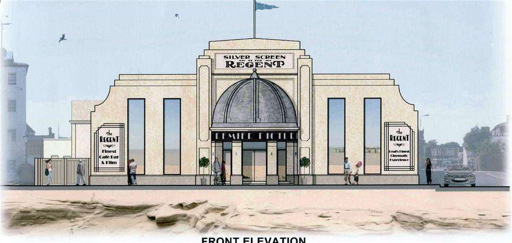 A design of the front exterior of the proposed new-look Regent on Deal seafront