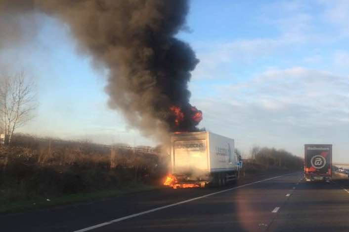 A lorry was on fire. Picture: Matthew Figgett