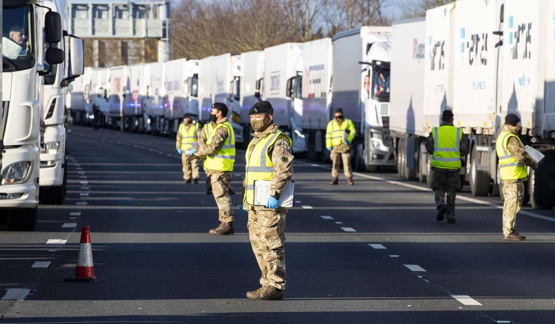 British Army Royal Engineers deliver Covid-19 tests to European lorry drivers on the M20 Pic: Royal Air Force