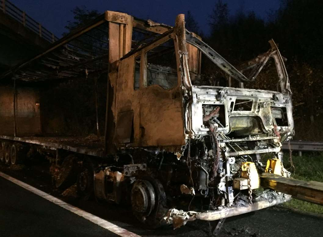 The remains of the lorry. Picture: Highways England