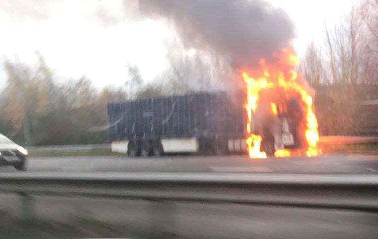 The lorry fire on the M2. Picture: Peter Harrison-Brookes