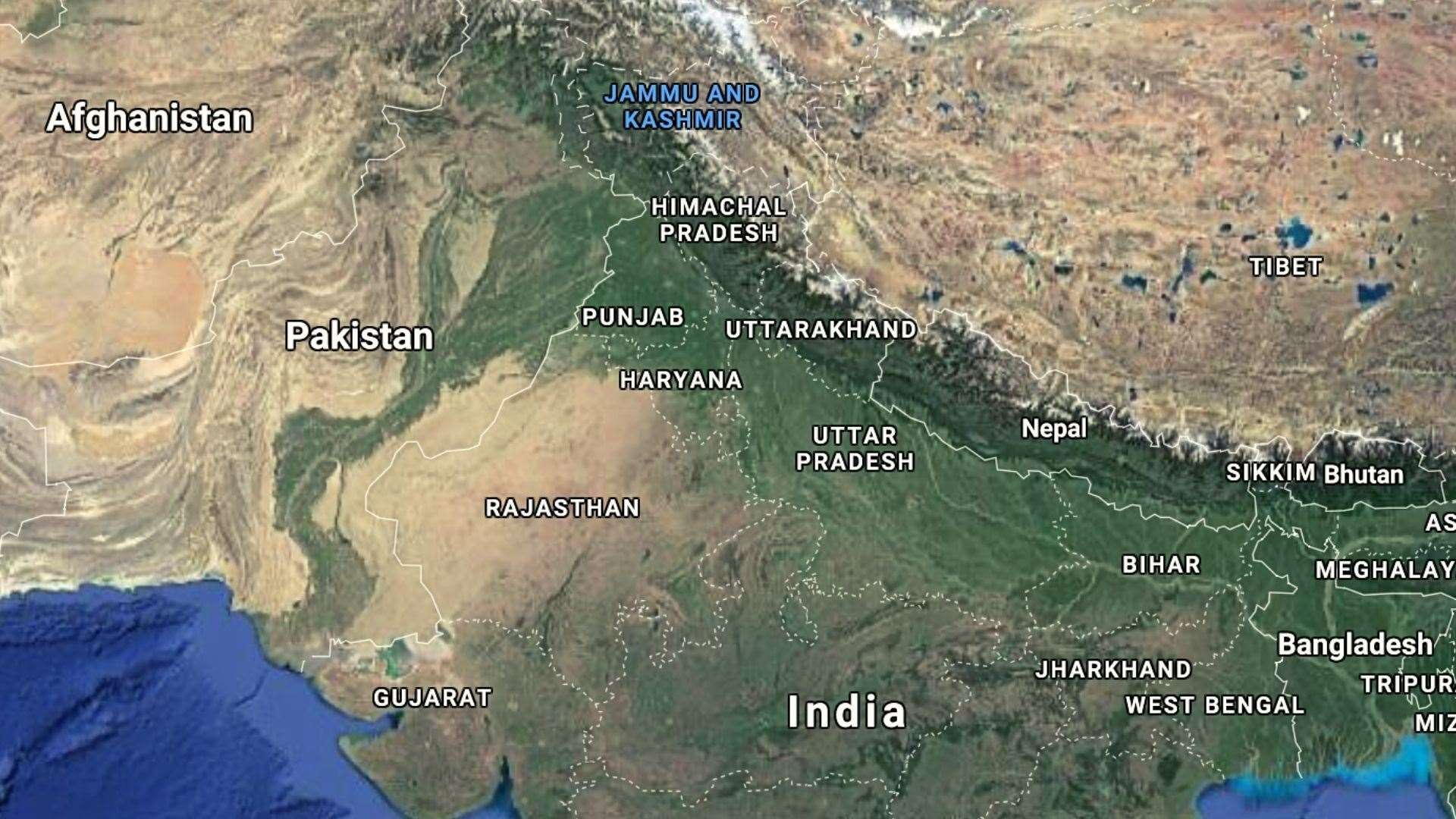 Jammu and Kashmir is nestled between Pakistan and India. Pic: Google Maps