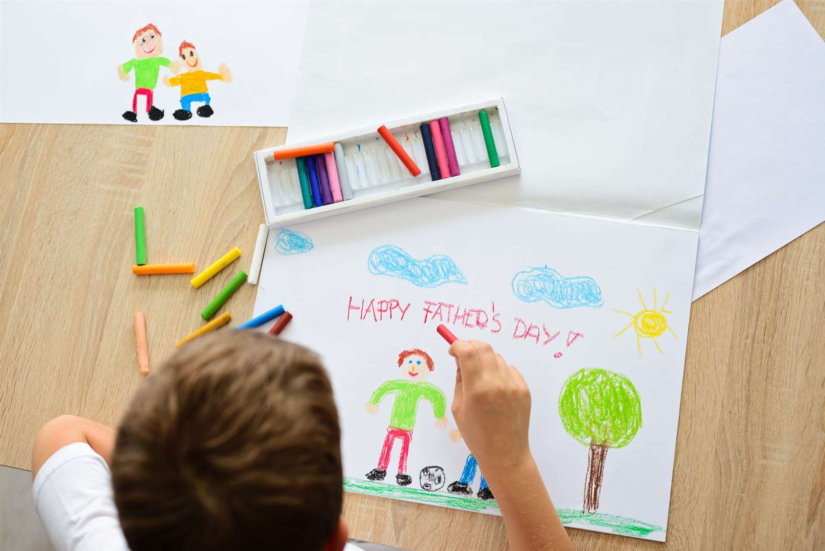 Children have been drawing pictures for Father's Day
