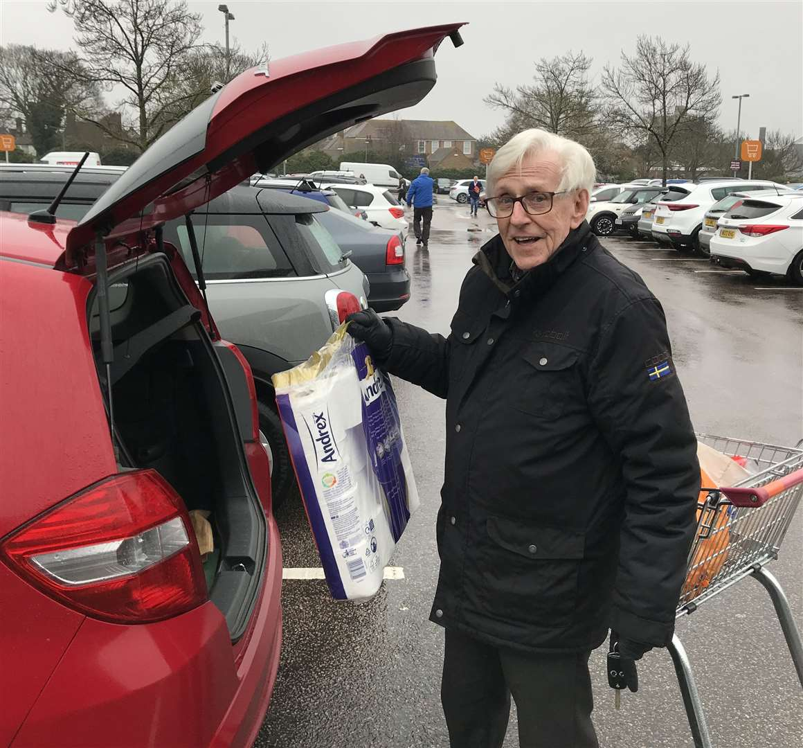 Mike Grantham, 83, who came out of Sainsbury's 10 minutes after it opened with the last of the toilet roll