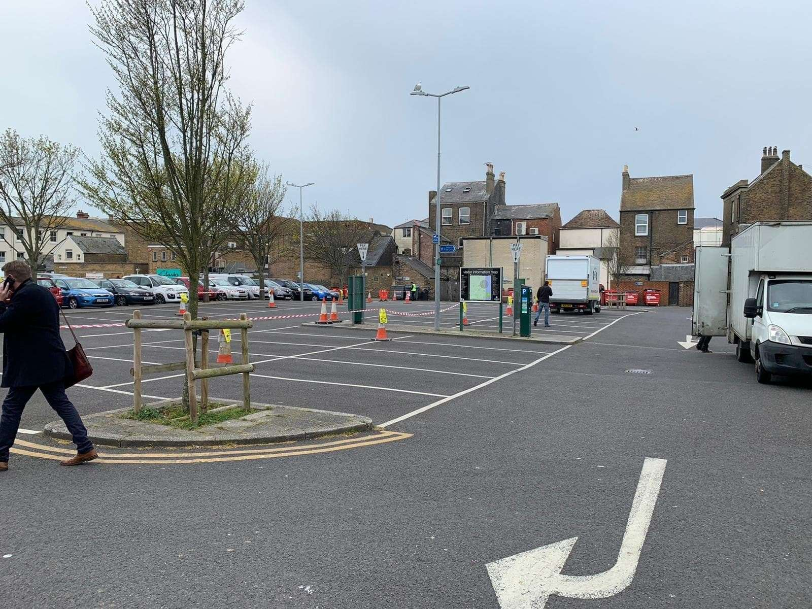 Middle Street Car Park is mostly empty to allow the crew and actors space to film