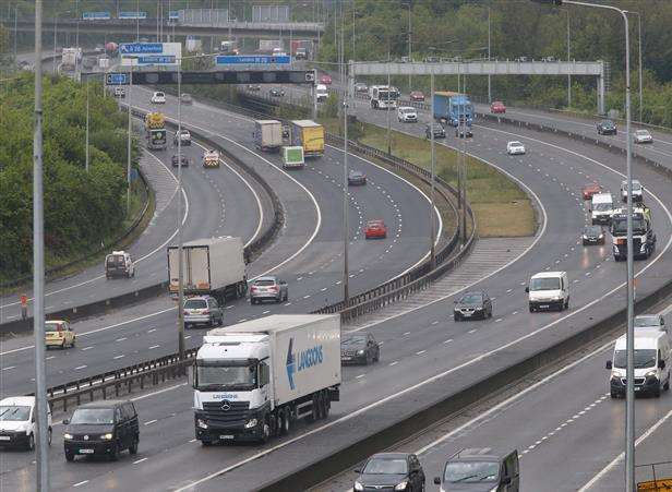 Part of the M20 is being transformed into a smart motorway. Stock picture. (3592753)