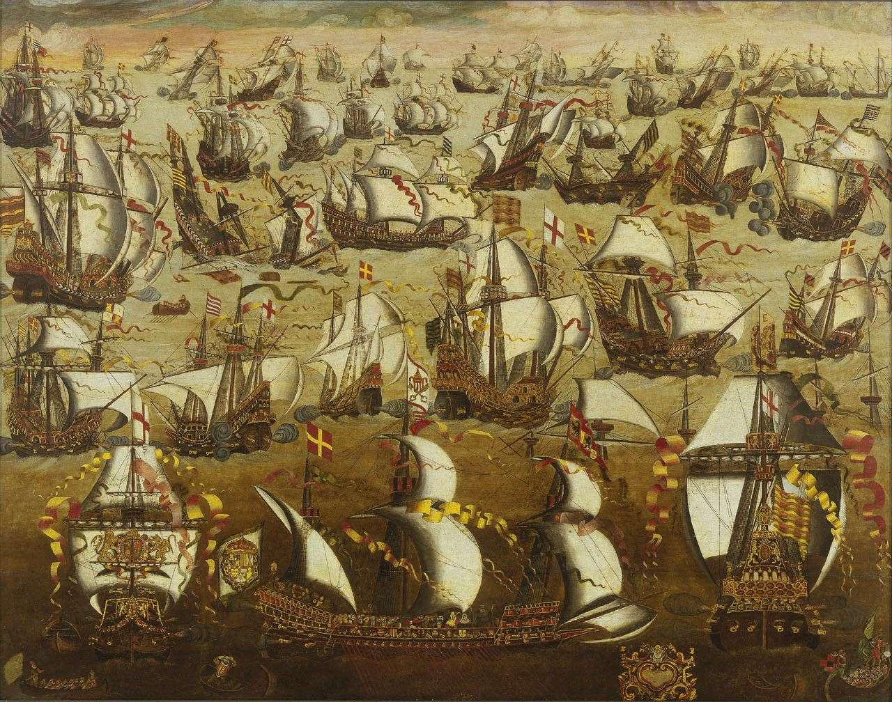 A painting depicting the Spanish Armada from the National Maritime Museum, Greenwich