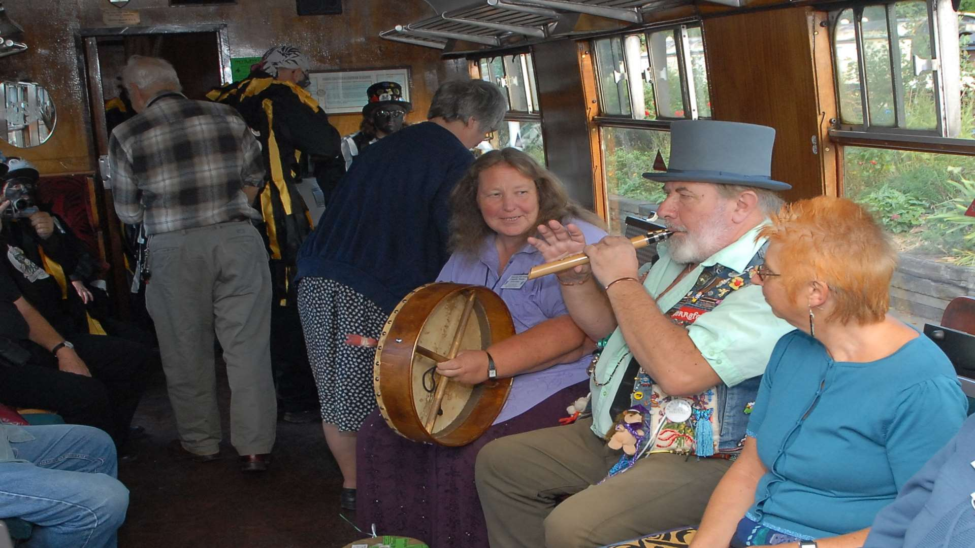 Kathy and Bob playing on the Folk Train in 2006. Picture by Barry Duffield