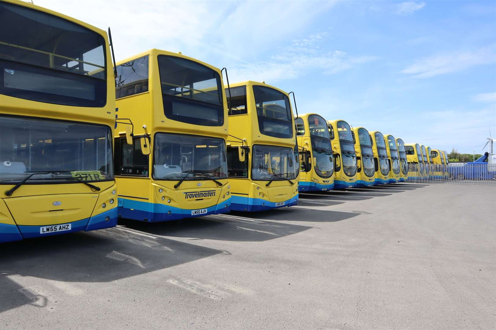 Going nowhere: the fleet of TravelMasters's buses on the Isle of Sheppey