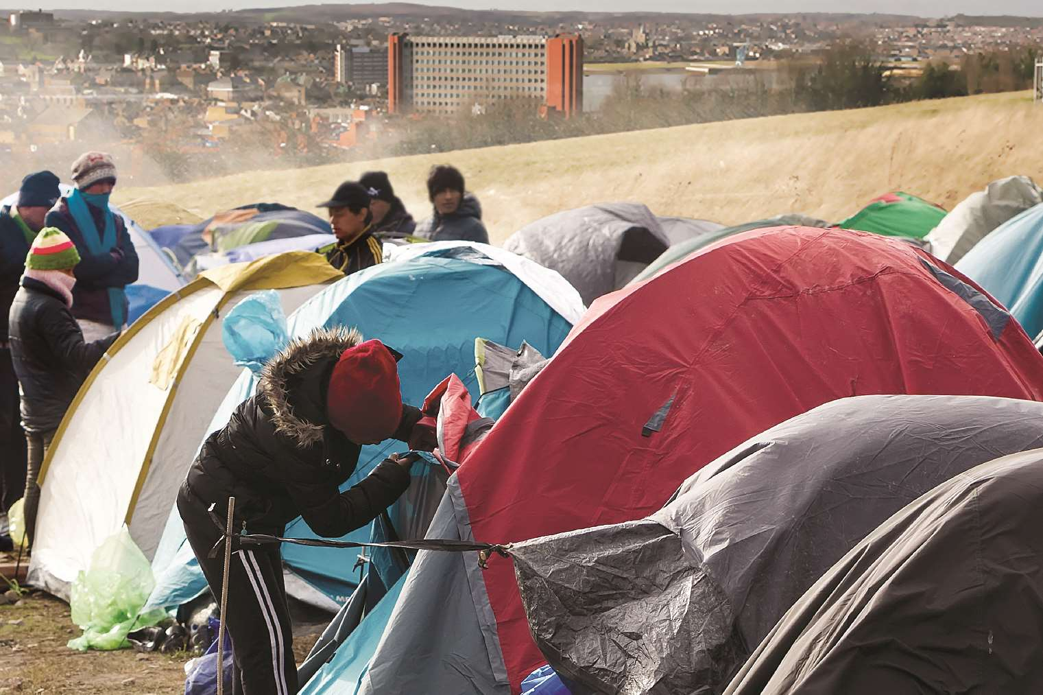 Medway Ukip leader Roy Freshwarter suggests putting refugees in tents in parks. Photoshopped image.