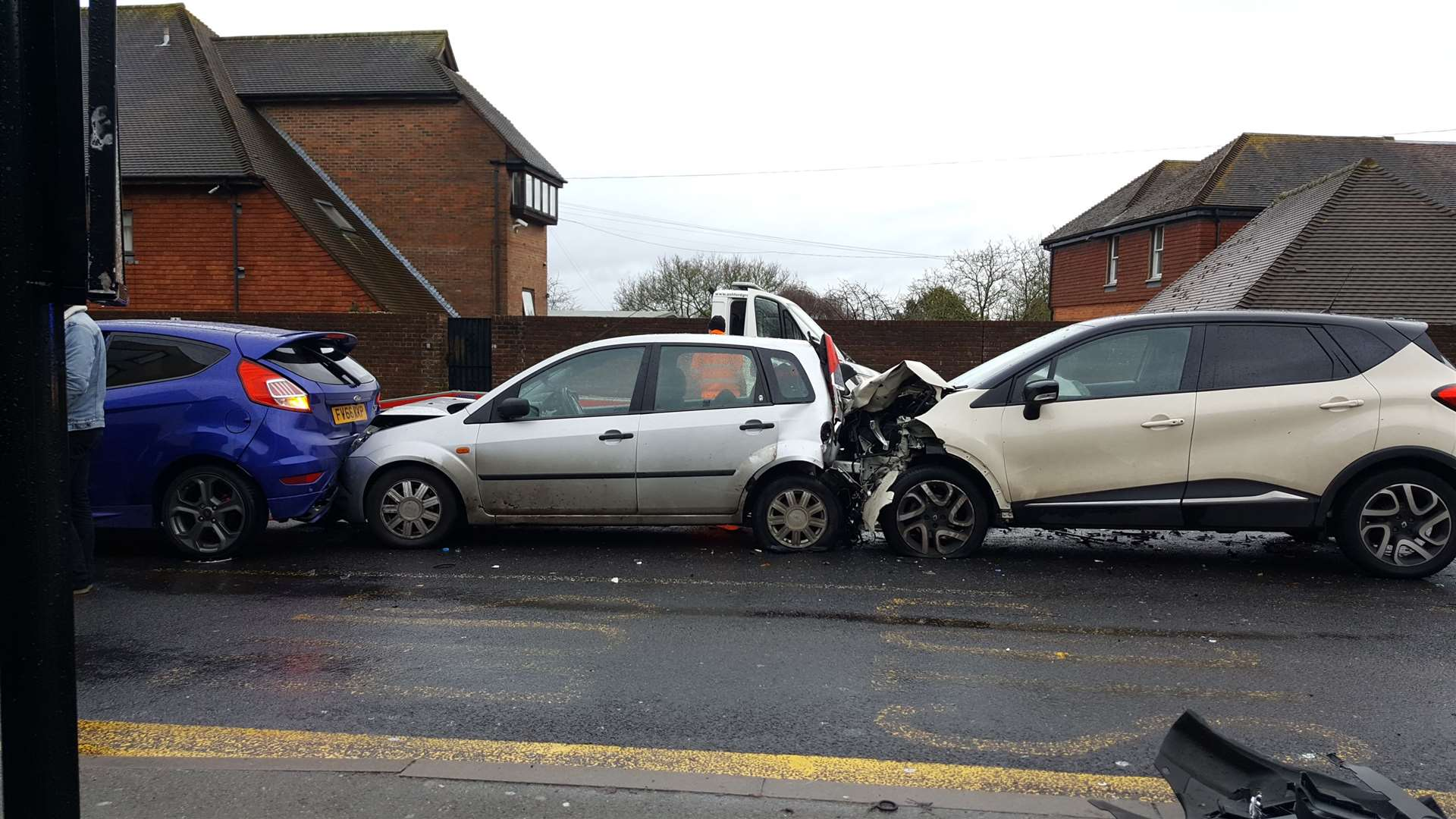Two Ford Fiestas and a Renault Kaptur were involved