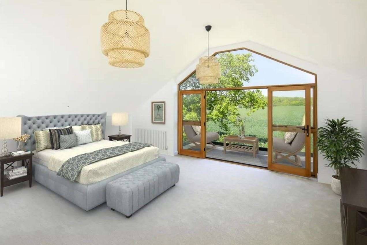French doors open up onto a balcony with 'spectacular views' . Picture: Zoopla / Foundation Estate Agents