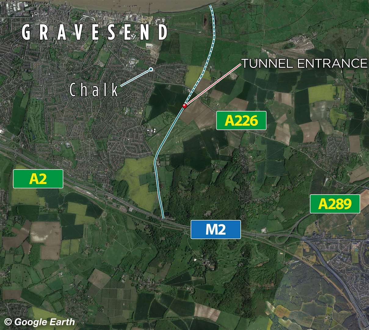 The updated planned route of the Lower Thames Crossing