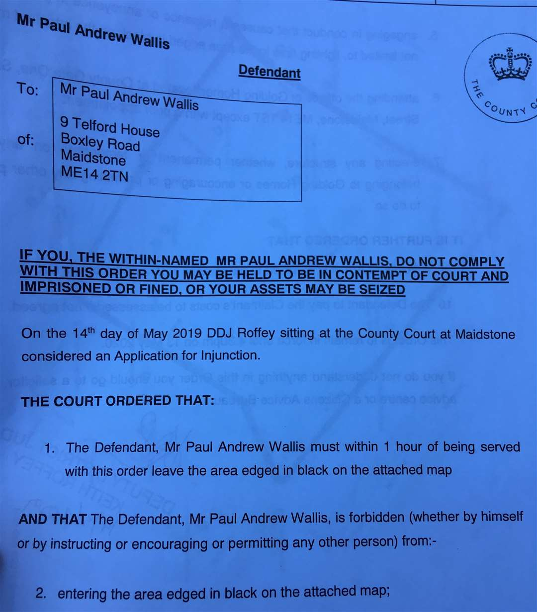 Paul Wallis has been ordered to leave not just the premises of Telford House but a far wider area (10310447)