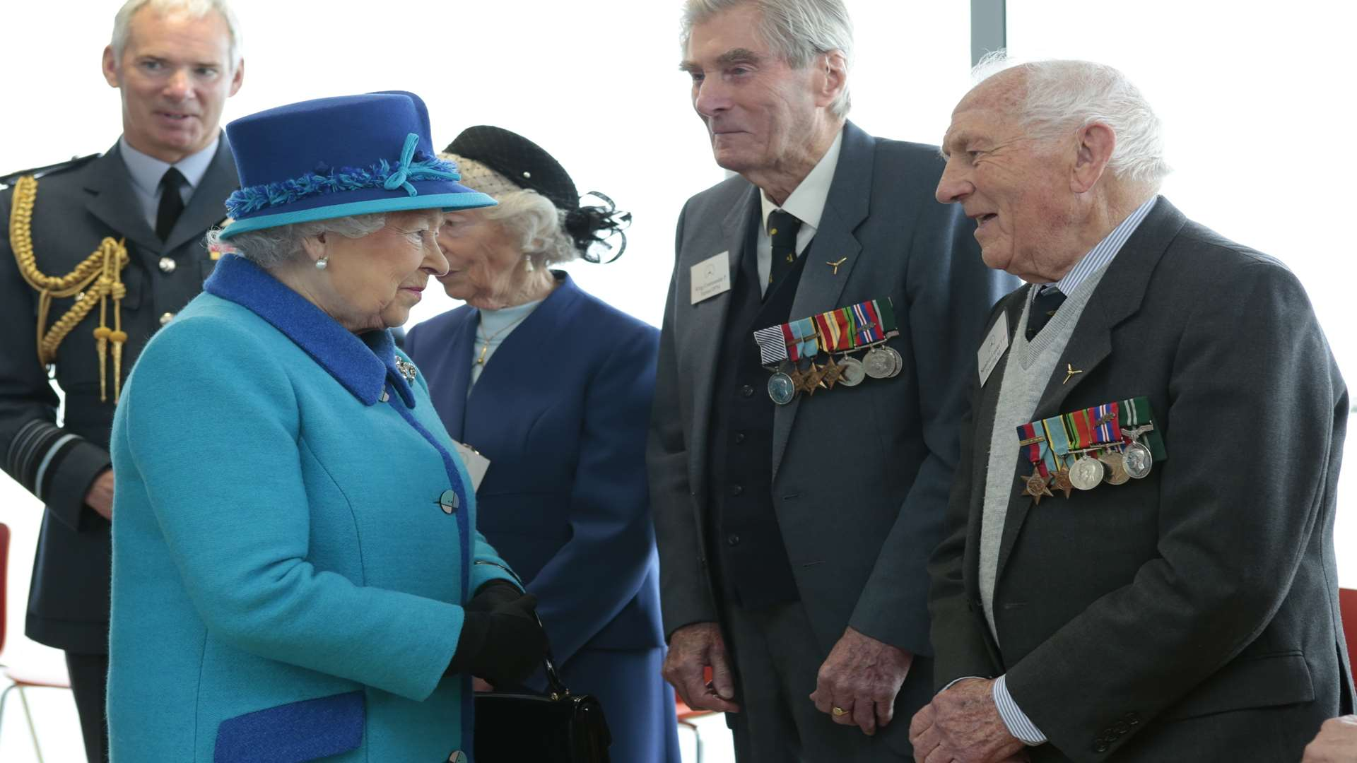 The Queen chats with Sqn Ldr Pickering during the opening of The Wing at Capel-le-Ferne last year. Picture: Martin Apps
