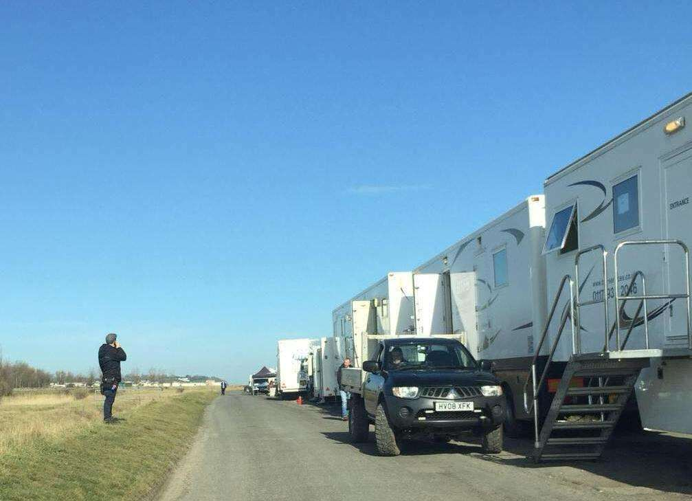 Television trucks in Shellness Road, Leysdown. in March filming the final episode of ITV's Dart Heart