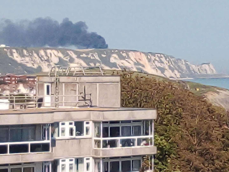 The fire is sending smoke shooting into the sky. Photo: Chris Kellers
