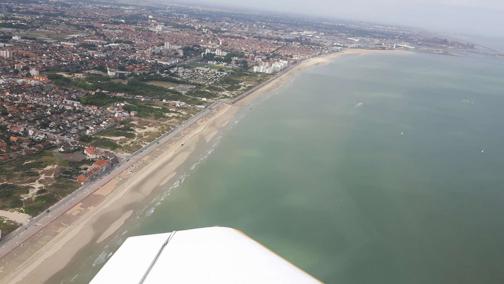 A stunning panaroma of Dunkirk's beaches and the harbour in the distance.