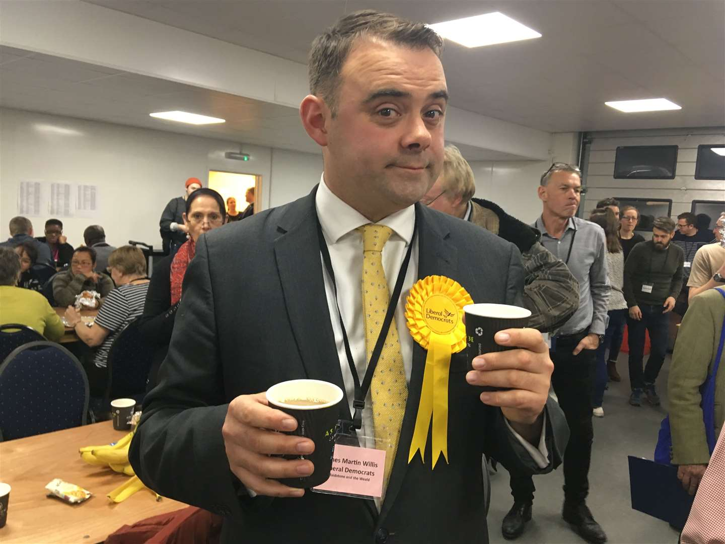 Lib Dem James Willis and his two cups of coffee