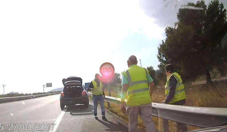 A Spanish man pulled over offering to help the couple
