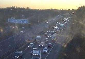 Traffic at the M2 junction 1. Picture: Highways England (7078149)