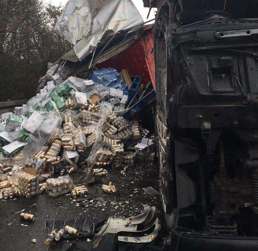 The lorry overturned on a slip road of the M2. Picture: @kentpoliceroads