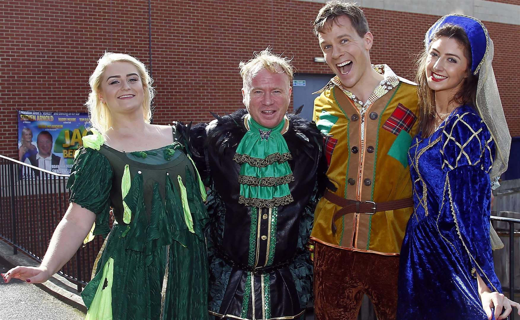 Stars from Jack and the Beanstalk, Olivia McLaughin, Steven Arnold, Tom Balmont and Katie Burke. Picture: Sean Aidan