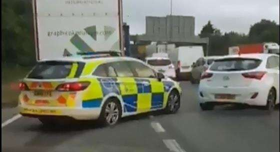 A police car seen in heavy traffic by Dartford Crossing. Picture: @Borough22 (2967648)