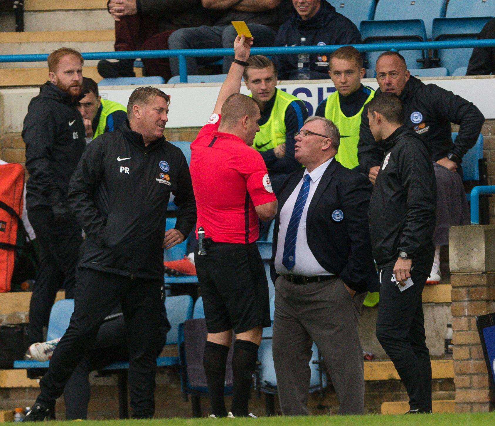 Peterborough manager Steve Evans goes in referee Lee Swabey's book Picture: Ady Kerry