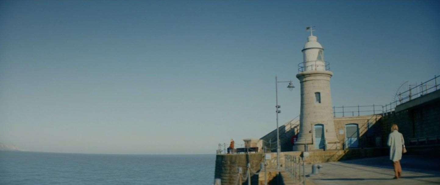 The Folkestone Harbor Arm Lighthouse is regularly featured.  Photo: BBC iPlayer