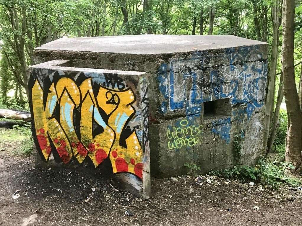 The Second World World pillbox, across the road from Sandgate Park, has been subject to graffiti. Picture: Cllr Tim Prater