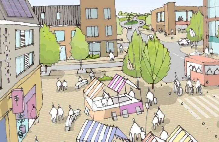 An artist's impression of how the centre of the Heathlands garden community in Lenham could look Picture: Maidstone Borough Council