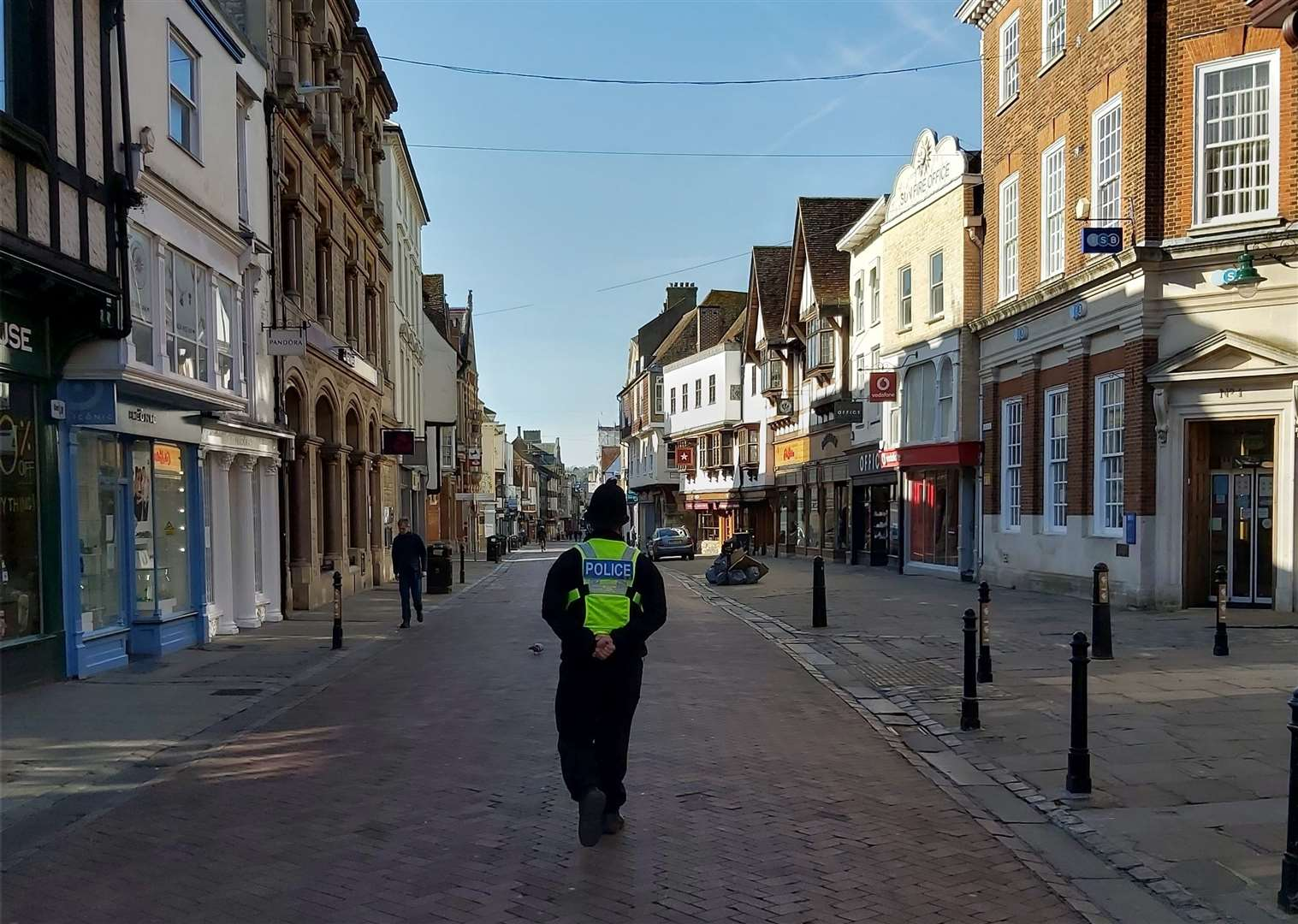 People in Canterbury diligently observed the social distancing rules on Tuesday. Picture: Police in Canterbury / Twitter