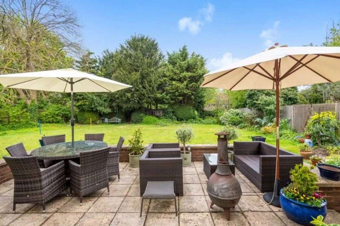 Outdoor seating area in the rear garden. Picture: Zoopla / Park Estates