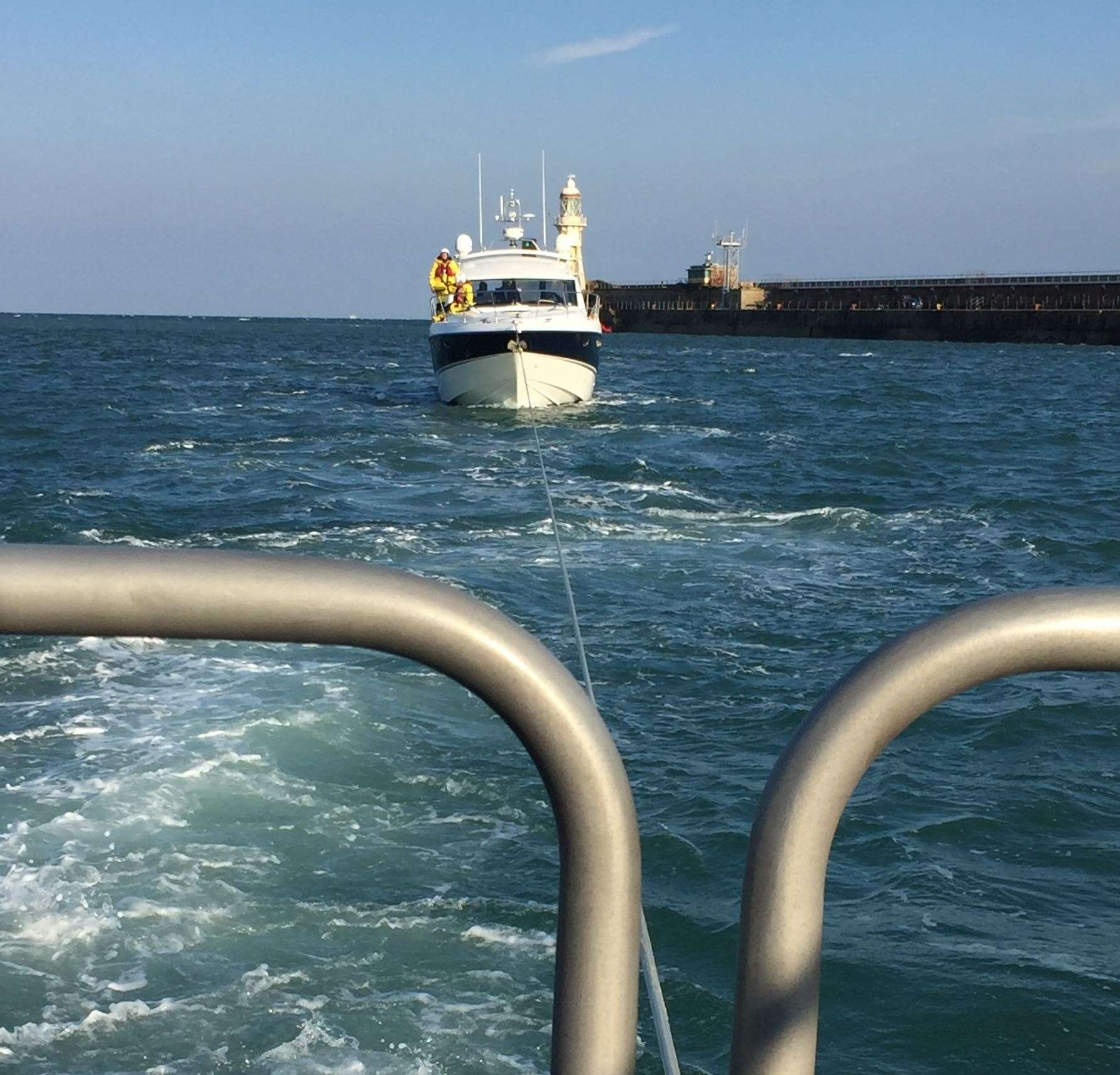 The cabin cruiser was towed to Dover for repairs. Picture: Jason Adams (8532596)