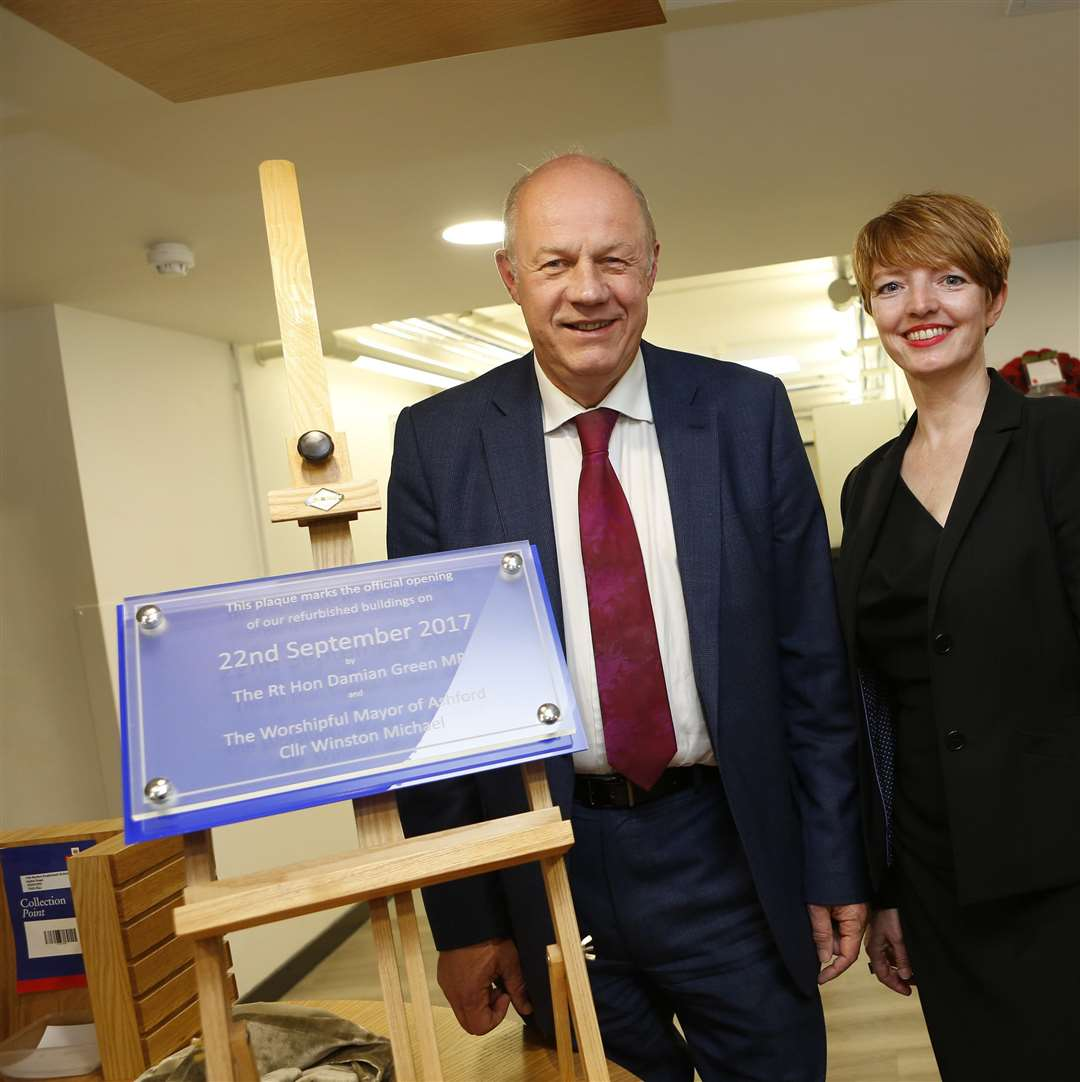 From Left: Damian Green MP, head teacher Susanne Staab and former Mayor of Ashford, Cllr Winston Michael, officially opened renovated school buildings last year.