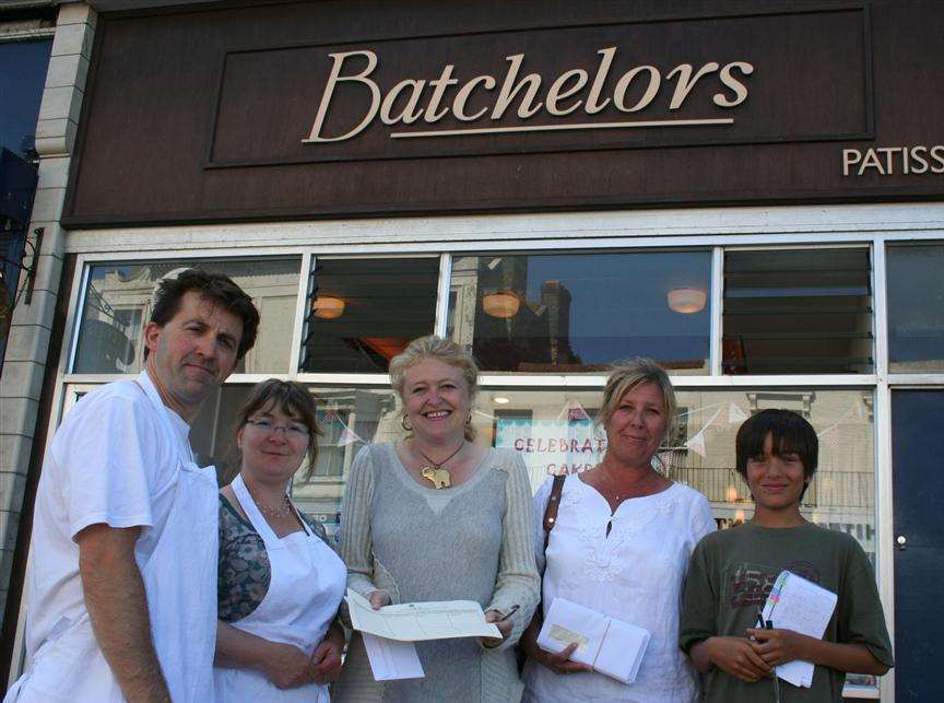 South Thanet MP Laura Sandys (left) and Thanet councillor Julie Marson start distributing petitions in Cliftonville West to Richard Veitch and wife Claire Musselwhite-Veitch, of Batchelors patisserie in Northdown Road.