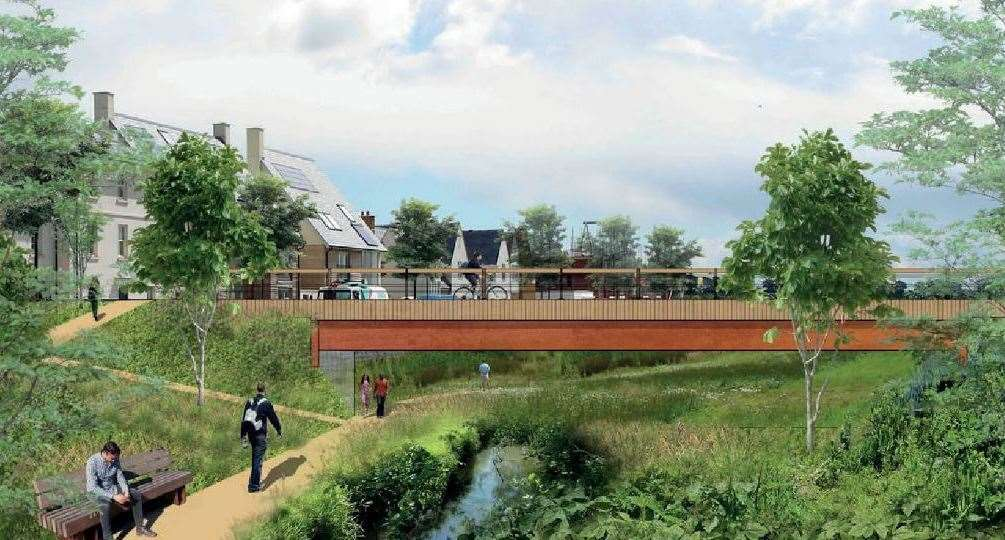 How Otterpool Park Riverside Park could look. Picture: Arcadis Design and Access statement