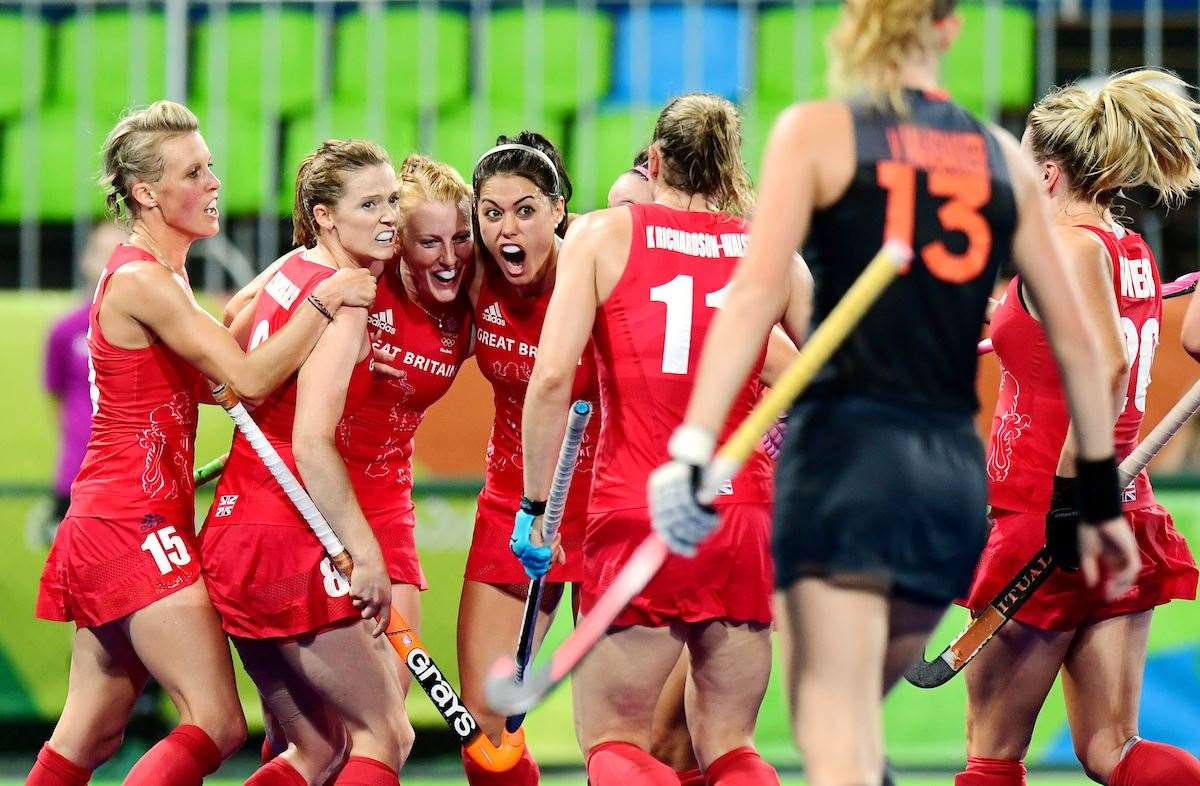 Great Britain's women's hockey team celebrate a goal during the final four years ago when they beat Netherlands to win gold. Picture: Frank Uijlenbroek