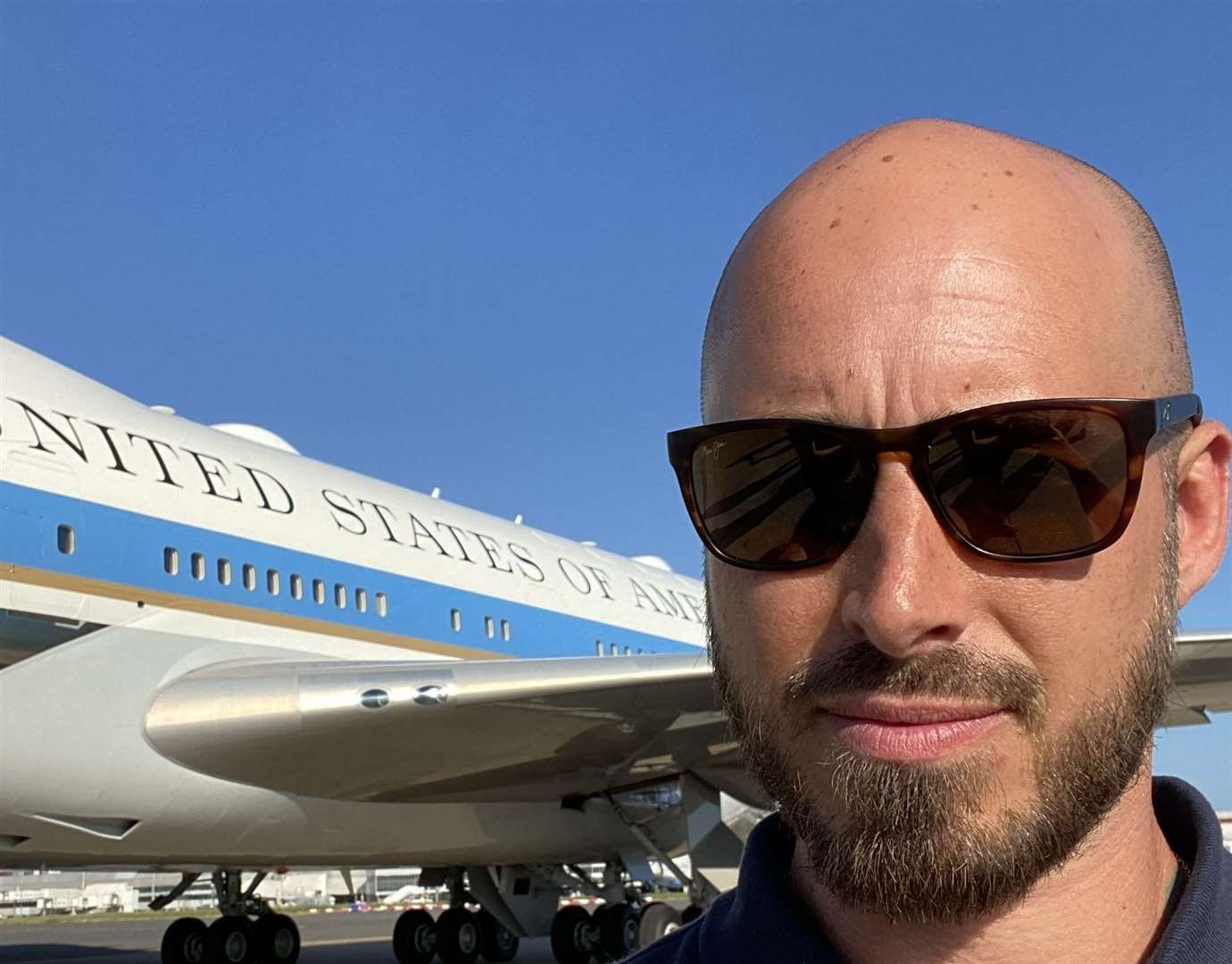 Army veteran Kemsley Whittlesea outside Air Force One at Heathrow Airport. Picture: Kemsley Whittlesea