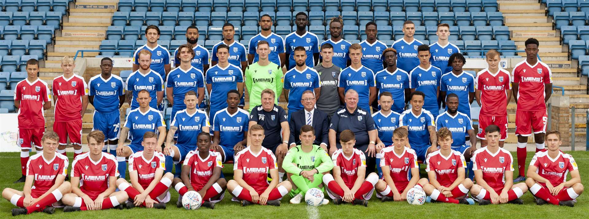 Gillingham's current crop of academy players line-up alongside this year's first-team squad at the club's annual photocall - how many of these will feature in the Premier League one day? Picture: Ady Kerry